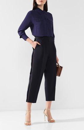 Женские брюки с лампасами TOMMY HILFIGER темно-синего цвета, арт. WW0WW23767 | Фото 2 (Длина (брюки, джинсы): Укороченные; Материал внешний: Синтетический материал; Статус проверки: Проверена категория; Женское Кросс-КТ: Брюки-одежда)