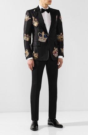 Мужской брюки из смеси шерсти и шелка DOLCE & GABBANA черного цвета, арт. GY59MT/FU3N7 | Фото 2
