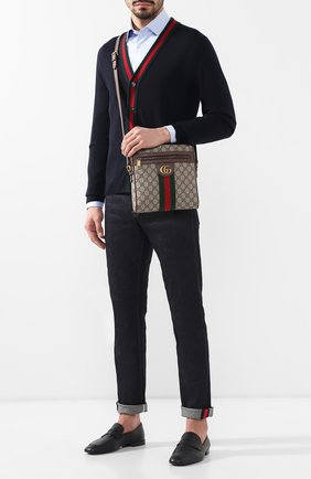Мужская сумка-планшет ophidia GUCCI бежевого цвета, арт. 547926/96IWT | Фото 2