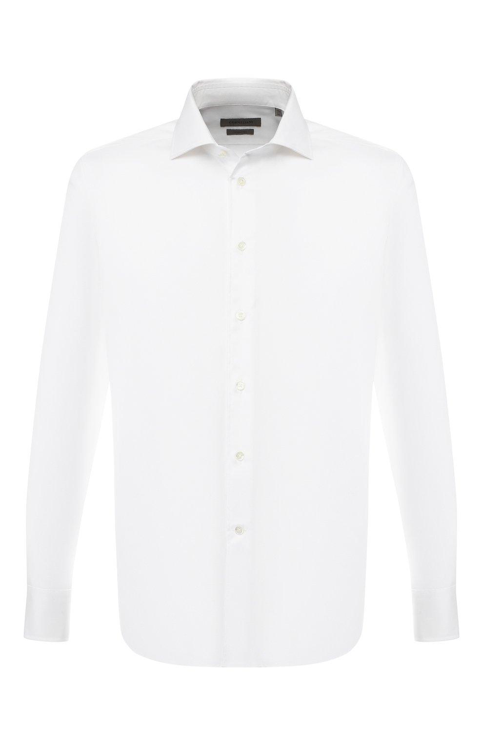 Мужская хлопковая рубашка с воротником кент CORNELIANI белого цвета, арт. 83P100-9111264/00 | Фото 1
