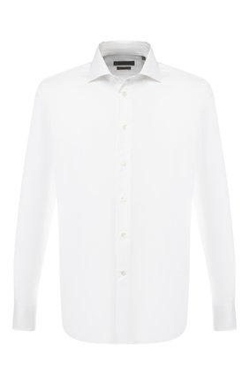 Мужская хлопковая рубашка с воротником кент CORNELIANI белого цвета, арт. 83P100-9111264/00   Фото 1