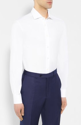 Мужская хлопковая рубашка с воротником кент CORNELIANI белого цвета, арт. 83P100-9111264/00 | Фото 3