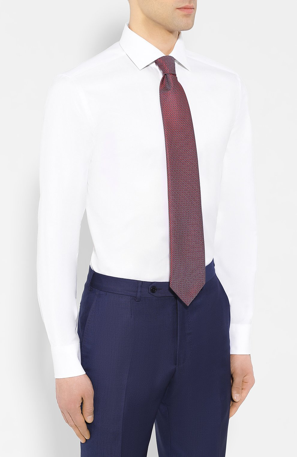 Мужская хлопковая рубашка с воротником кент CORNELIANI белого цвета, арт. 83P100-9111264/00 | Фото 4