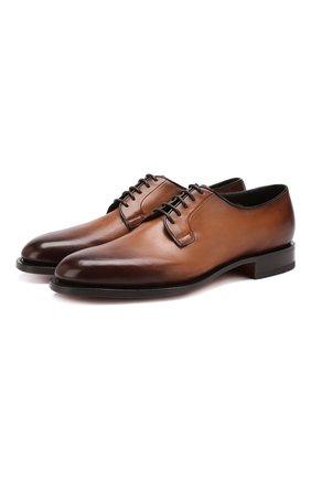 Мужские кожаные дерби  SANTONI темно-коричневого цвета, арт. MCC013974PC4NGTHS49 | Фото 1