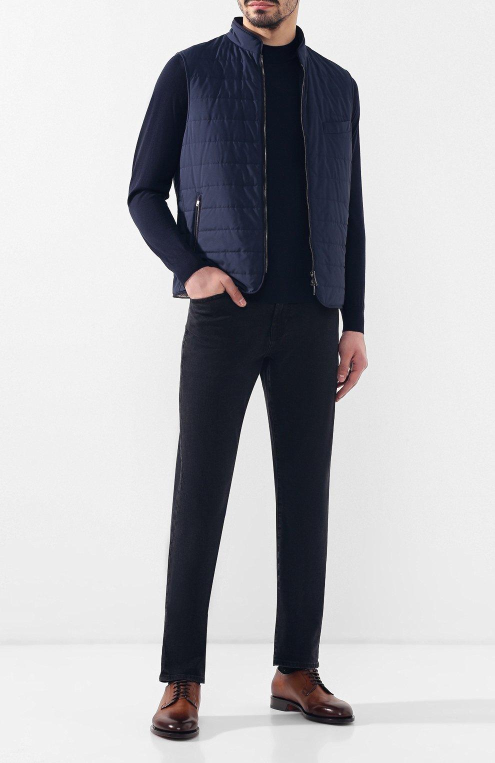 Мужские кожаные дерби  SANTONI темно-коричневого цвета, арт. MCC013974PC4NGTHS49 | Фото 2