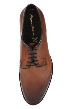 Мужские кожаные дерби  SANTONI темно-коричневого цвета, арт. MCC013974PC4NGTHS49 | Фото 5