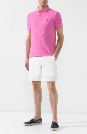 Мужское хлопковое поло POLO RALPH LAUREN розового цвета, арт. 710536856 | Фото 2