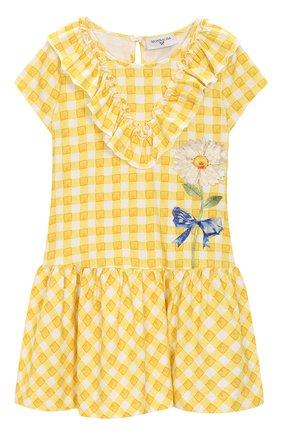 Детское хлопковое платье MONNALISA желтого цвета, арт. 113903A2 | Фото 1