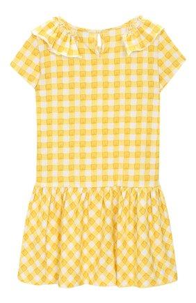 Детское хлопковое платье MONNALISA желтого цвета, арт. 113903A2 | Фото 2