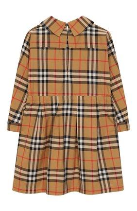 Женский хлопковое платье BURBERRY бежевого цвета, арт. 8002626 | Фото 2