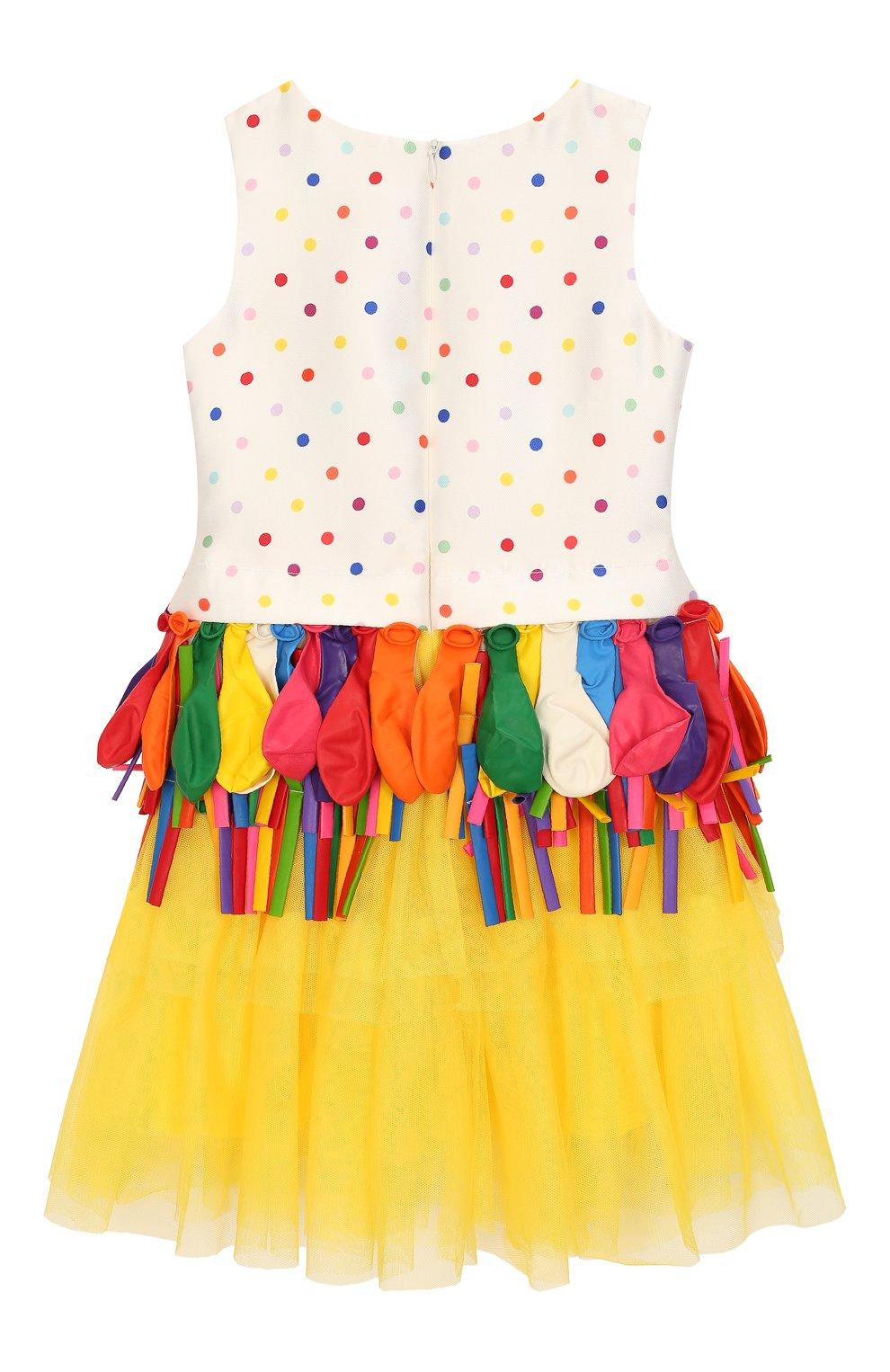Детское платье с декором Charabia разноцветного цвета | Фото №2