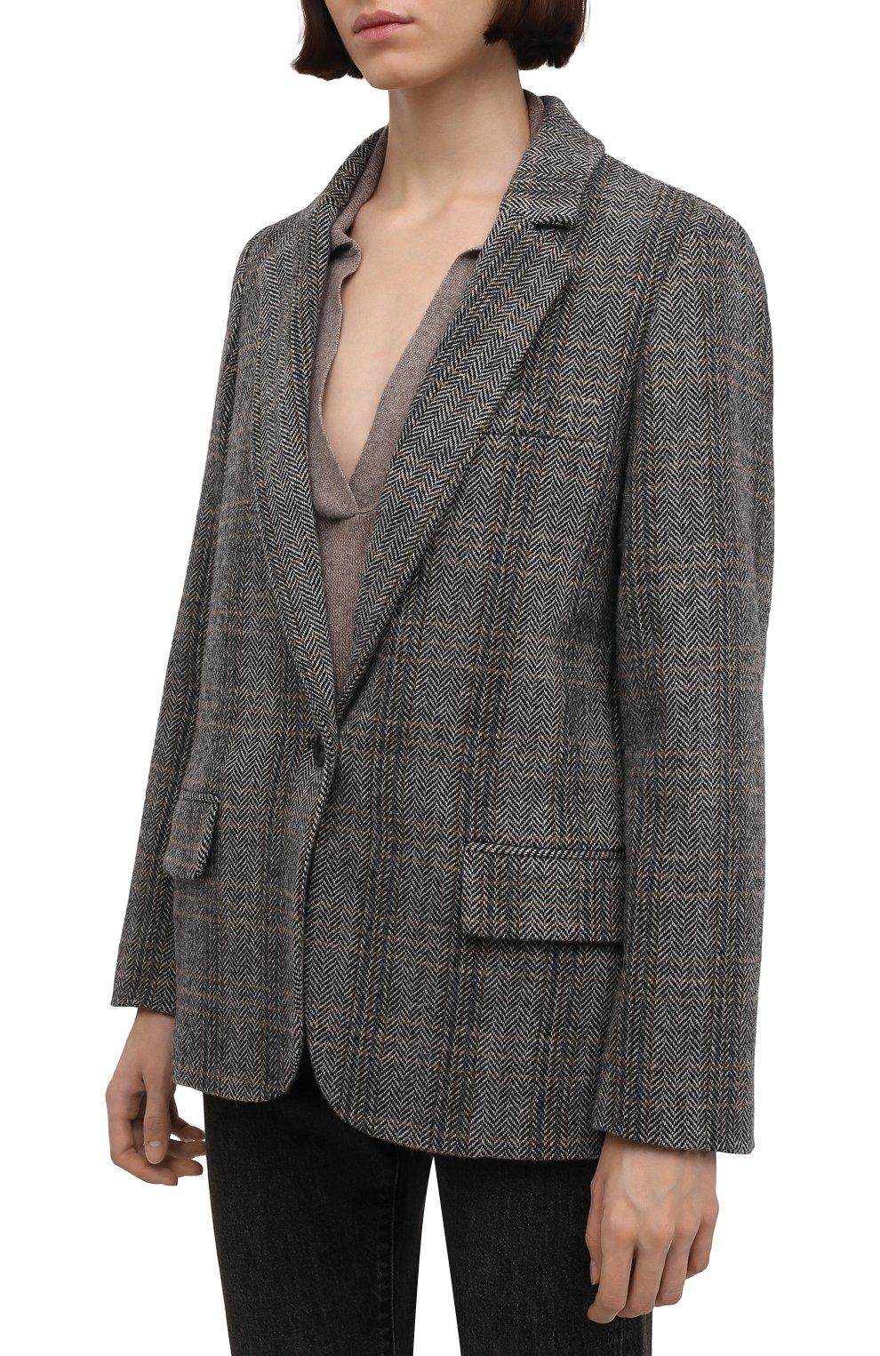 Женский шерстяной жакет на одной пуговице ISABEL MARANT ETOILE серого цвета, арт. VE0439-00M003E/CHARLY | Фото 3