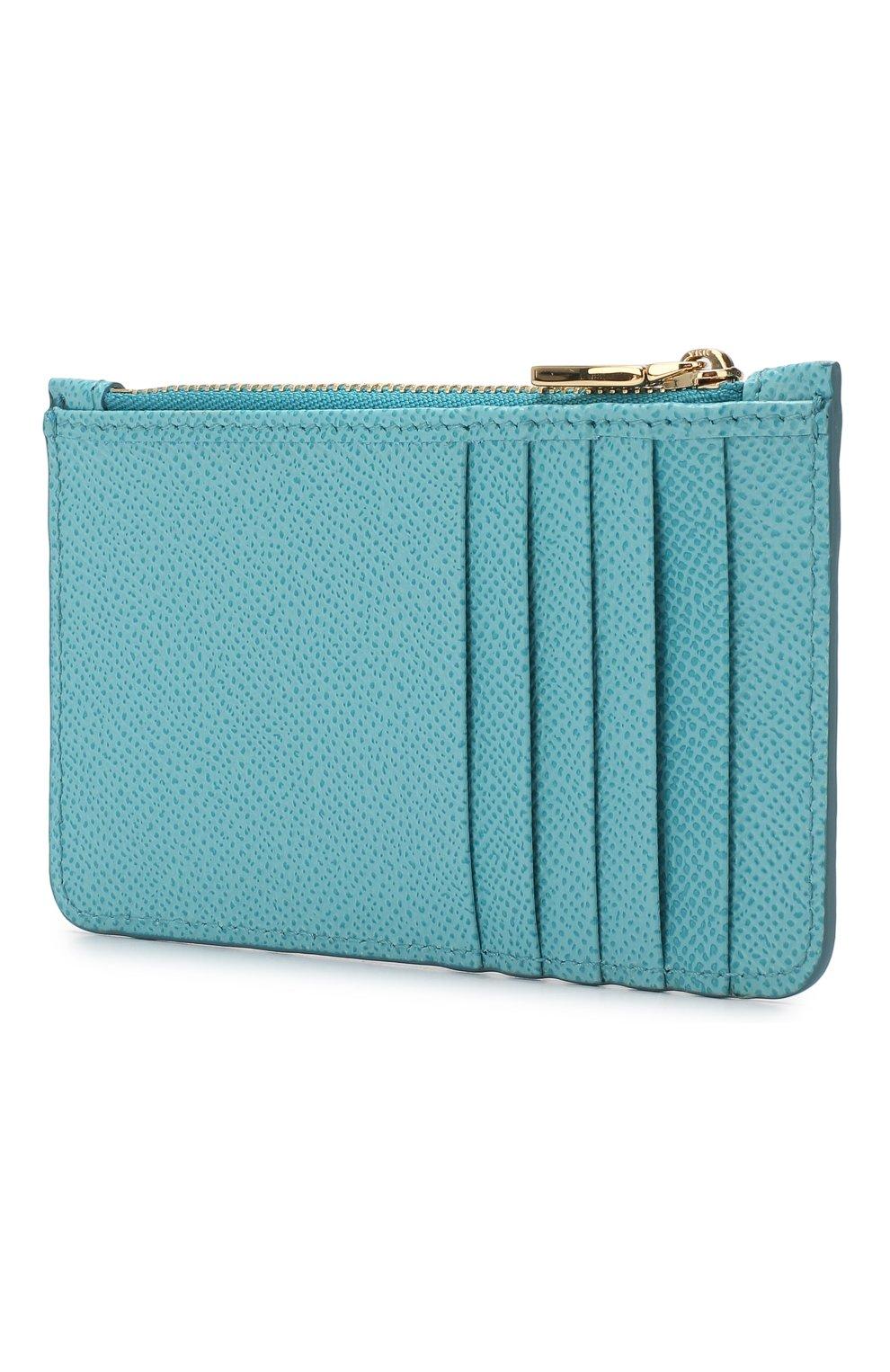 Кожаный футляр для кредитных карт Dolce & Gabbana голубого цвета | Фото №2
