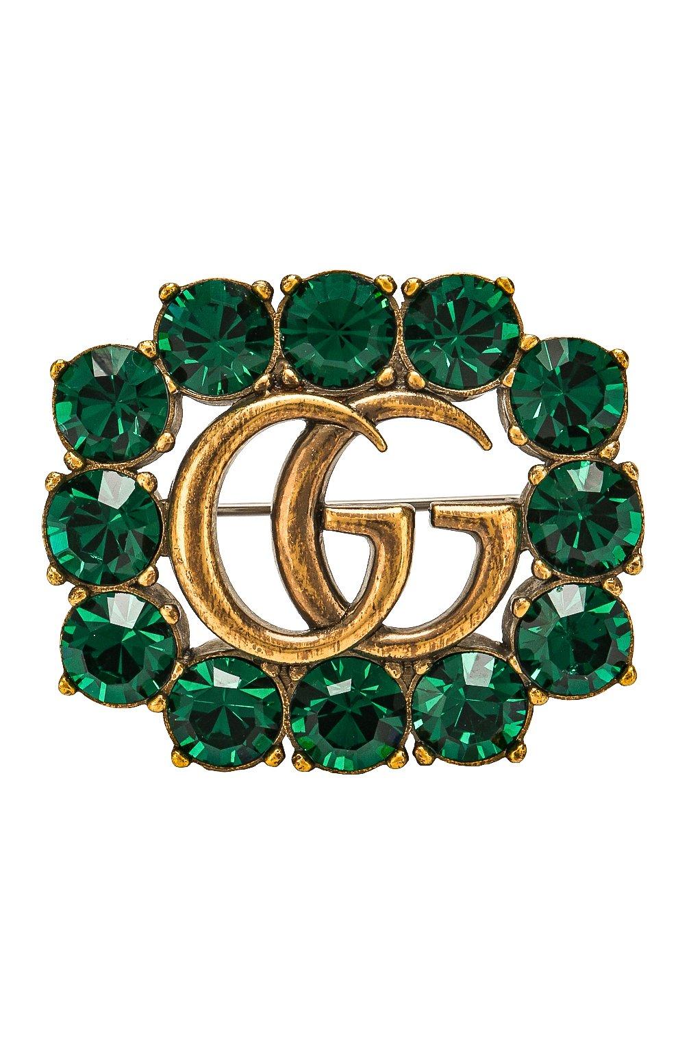 Брошь с отделкой кристаллами Swarovski Gucci зеленая | Фото №1
