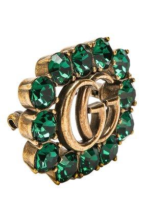 Брошь с отделкой кристаллами Swarovski Gucci зеленая | Фото №2