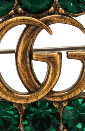 Брошь с отделкой кристаллами Swarovski Gucci зеленая | Фото №4