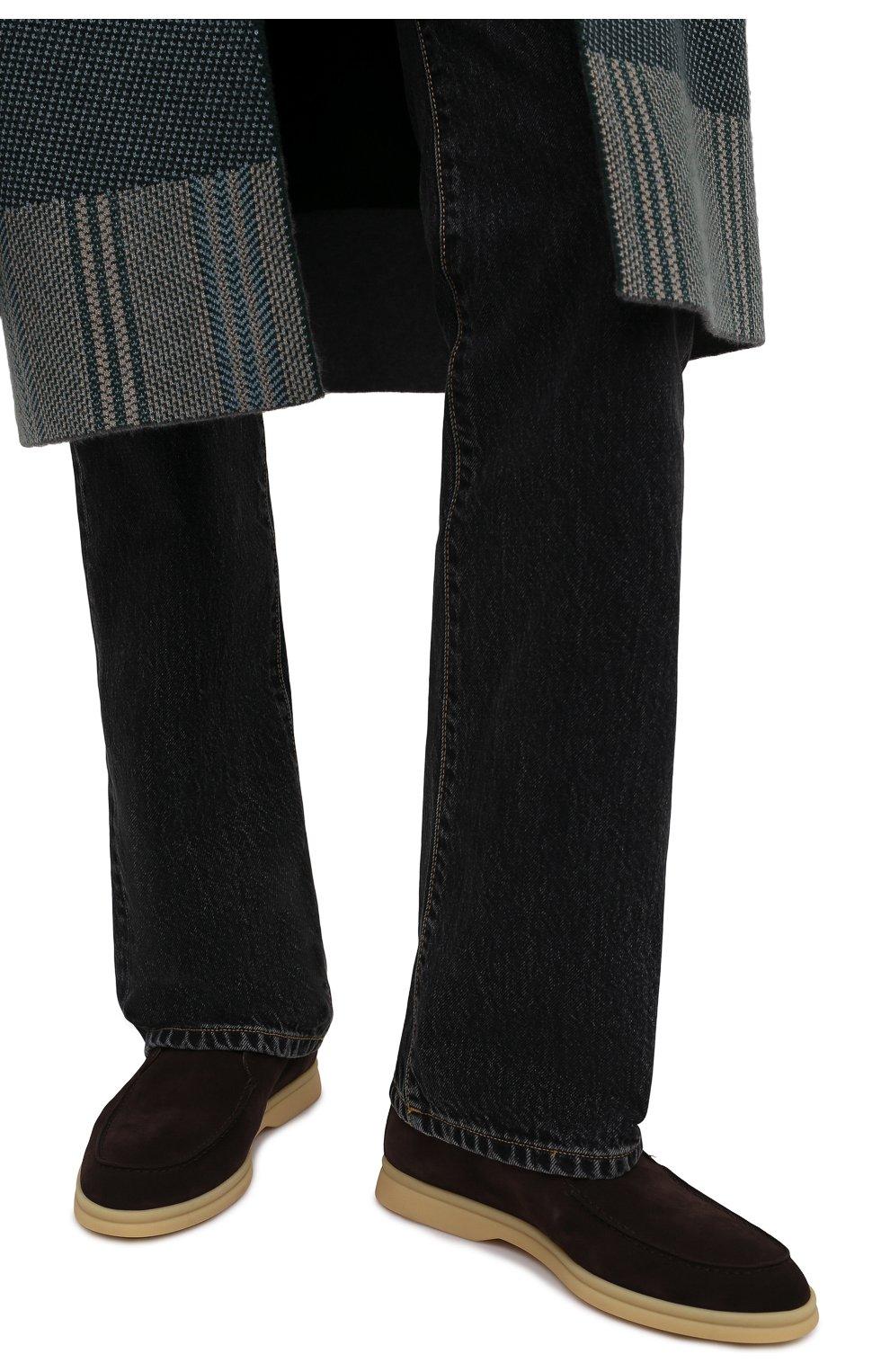 Женские замшевые ботинки open walk LORO PIANA темно-коричневого цвета, арт. FAE9959   Фото 3