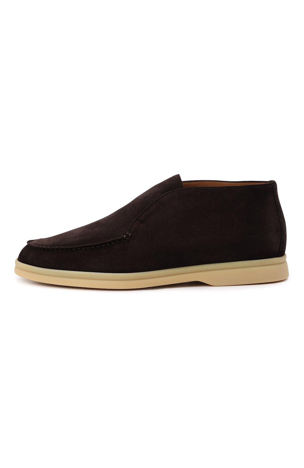 Женские замшевые ботинки open walk LORO PIANA темно-коричневого цвета, арт. FAE9959   Фото 4