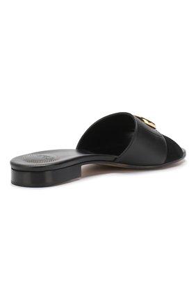 Кожаные шлепанцы Chloé черные | Фото №4