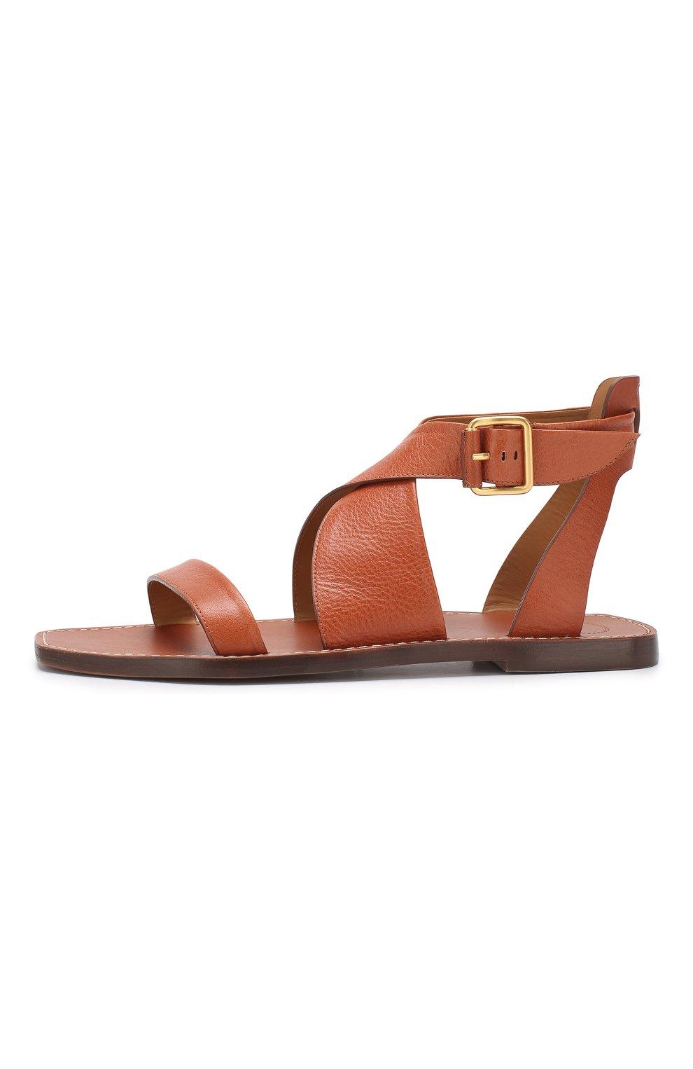 Кожаные сандалии Virginia  Chloé светло-коричневые | Фото №3
