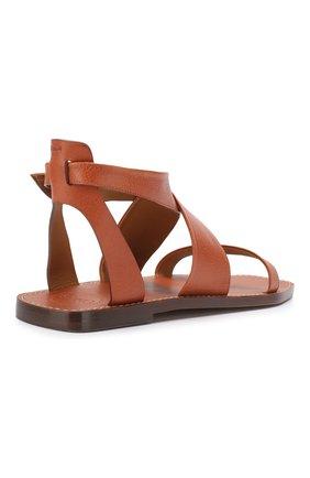 Кожаные сандалии Virginia  Chloé светло-коричневые | Фото №4