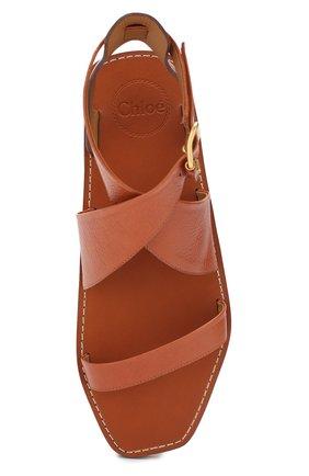 Кожаные сандалии Virginia  Chloé светло-коричневые | Фото №5
