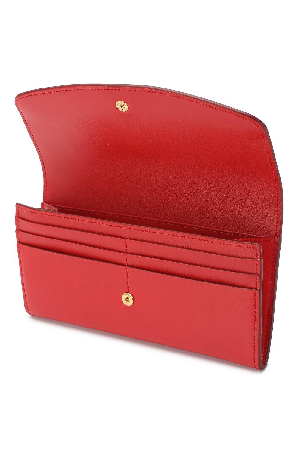 Кожаный кошелек Chloé красного цвета | Фото №3