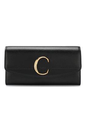 Женские кожаный кошелек CHLOÉ черного цвета, арт. CHC19SP055A37 | Фото 1