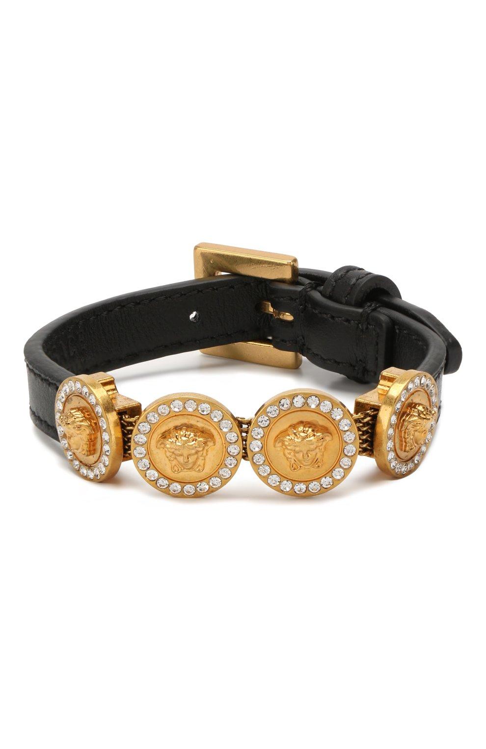 Кожаный браслет Tribute Medusa Versace черный | Фото №1