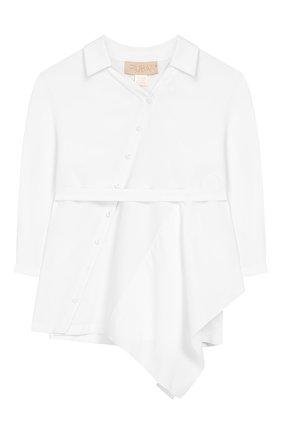 Хлопковая блузка асимметричного кроя | Фото №1