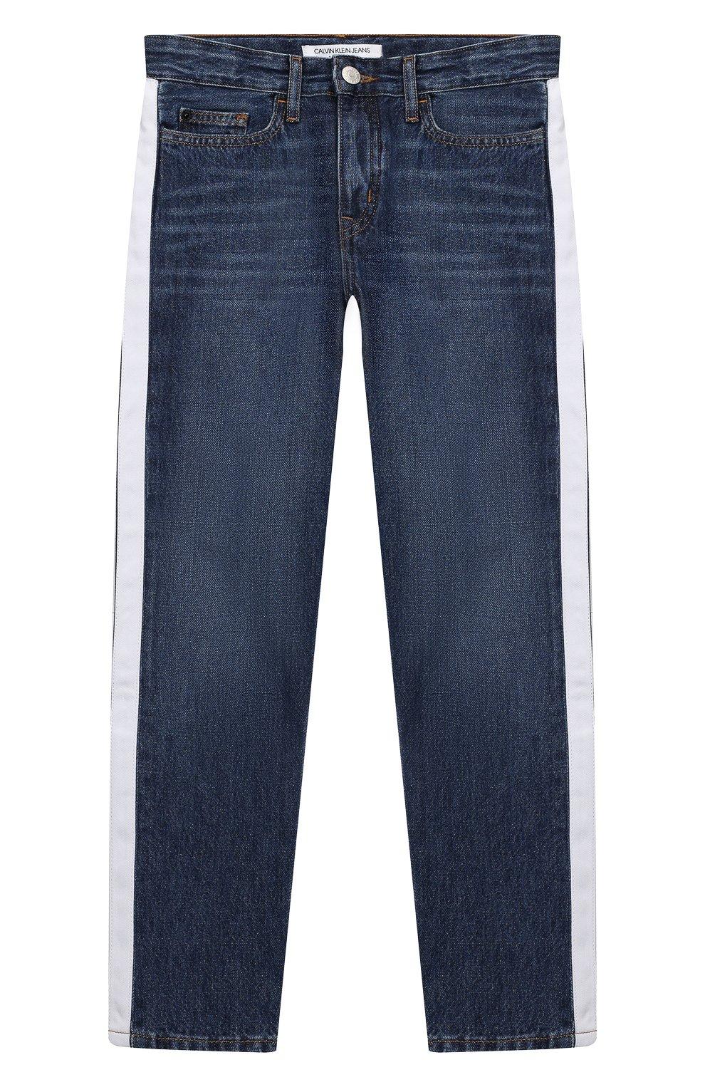 e1c072dfe908d Детские джинсы с лампасами Calvin Klein Jeans темно-синего цвета | Фото №1