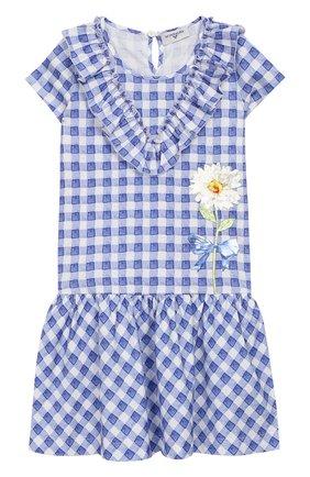 Детское хлопковое платье MONNALISA синего цвета, арт. 113903A2 | Фото 1