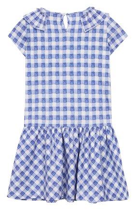 Детское хлопковое платье MONNALISA синего цвета, арт. 113903A2 | Фото 2