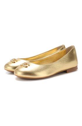 Детские кожаные балетки DOLCE & GABBANA золотого цвета, арт. D10510/A6C66/24-28 | Фото 1