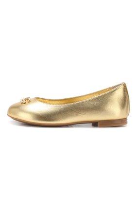 Детские кожаные балетки DOLCE & GABBANA золотого цвета, арт. D10510/A6C66/24-28 | Фото 2
