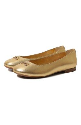 Детские кожаные балетки DOLCE & GABBANA золотого цвета, арт. D10510/A6C66/29-36 | Фото 1