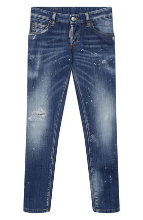 Детские джинсы с декоративными потертостями DSQUARED2 синего цвета, арт. DQ03HQ-D00U6 | Фото 1