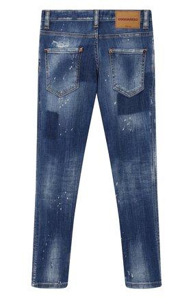 Детские джинсы с декоративными потертостями DSQUARED2 синего цвета, арт. DQ03HQ-D00U6 | Фото 2