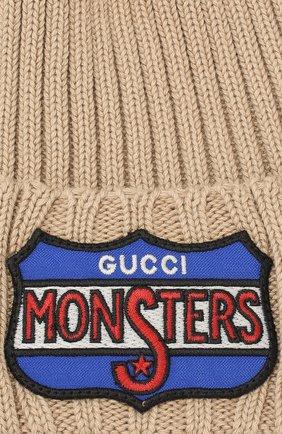 Хлопковая шапка Gucci бежевого цвета | Фото №3