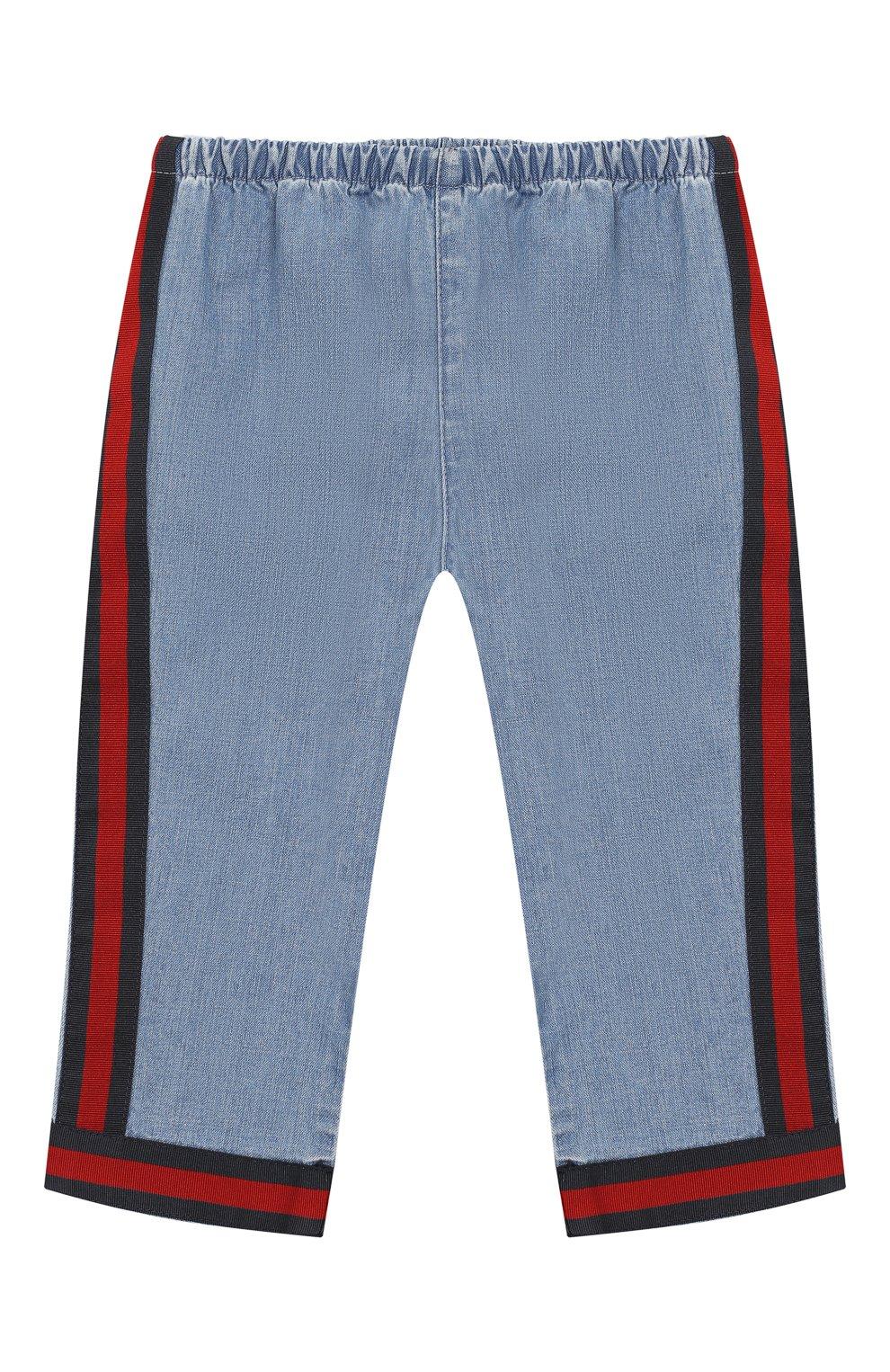 Детские джинсы с эластичным поясом GUCCI голубого цвета, арт. 555404/XDAHQ | Фото 1