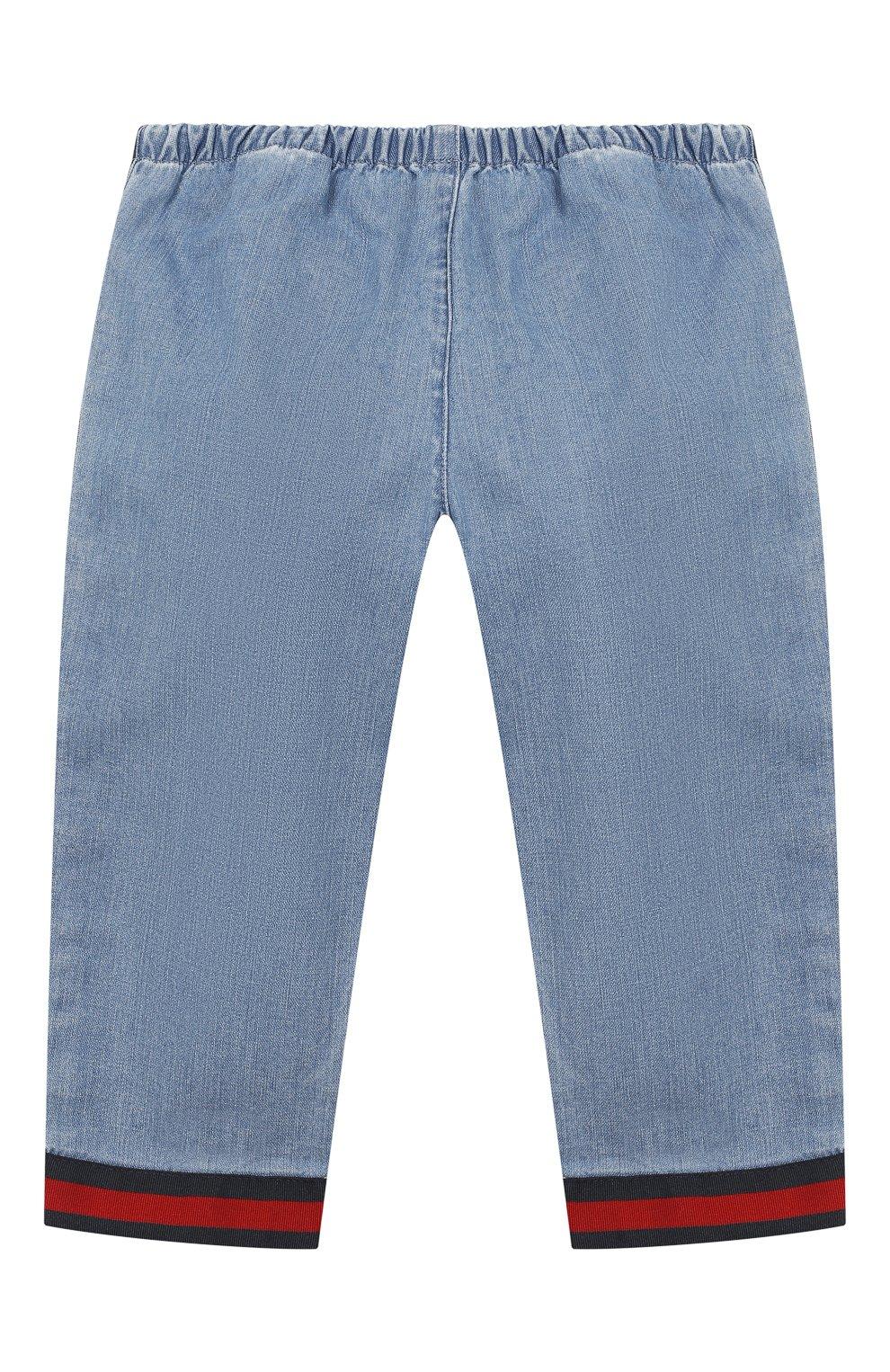 Детские джинсы с эластичным поясом GUCCI голубого цвета, арт. 555404/XDAHQ | Фото 2
