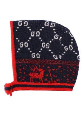 Детского шерстяная шапка GUCCI синего цвета, арт. 544536/3K206 | Фото 2