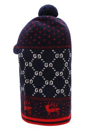 Шерстяная шапка-балаклава Gucci синего цвета | Фото №2