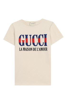 Детская хлопковая футболка GUCCI бежевого цвета, арт. 526775/X3074 | Фото 1