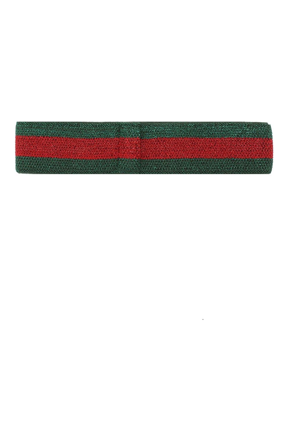 Детская повязка на голову GUCCI зеленого цвета, арт. 508438/4K087   Фото 2 (Материал: Текстиль, Вискоза; Статус проверки: Проверено, Проверена категория)