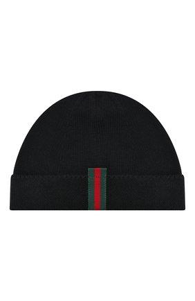 Детского шерстяная шапка GUCCI черного цвета, арт. 459431/4K638 | Фото 1