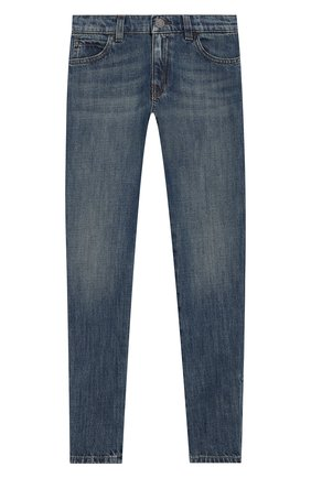 Детские джинсы с декоративными потертостями GUCCI синего цвета, арт. 453311/XR384 | Фото 1