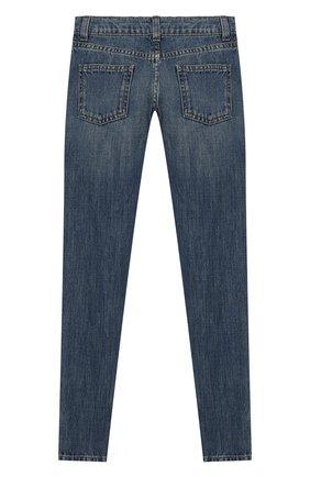 Детские джинсы с декоративными потертостями GUCCI синего цвета, арт. 453311/XR384 | Фото 2