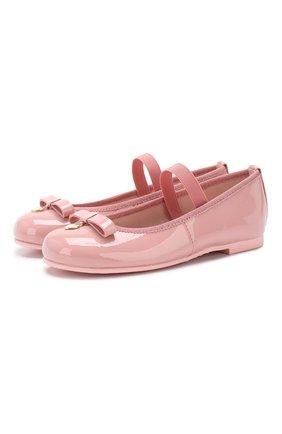 Детские кожаные балетки с перемычкой PRETTY BALLERINAS розового цвета, арт. 46.947/SHADE | Фото 1