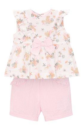 Комплект из хлопковой блузки и шорт | Фото №1